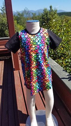 Rainbow Hearts T-Shirt Dress