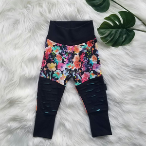 Dark Watercolour Floral Patch Pants