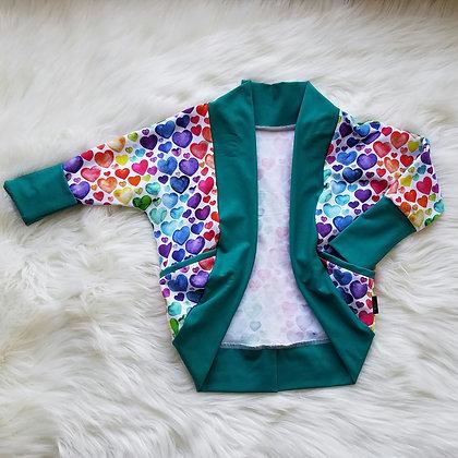 GWM Cozy Cardi- Rainbow Hearts