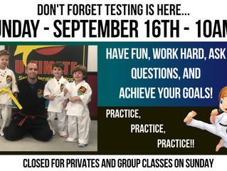 Testing Day September 16!