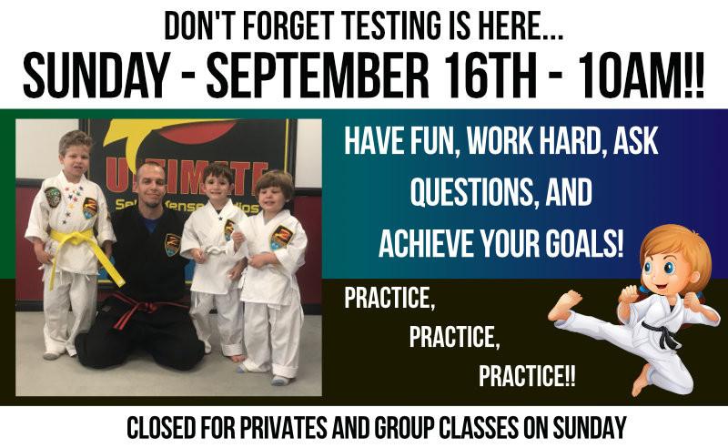 Testing Day September 16 - 10am!