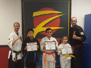 Our newest Blue, Orange and Yellow Belts!