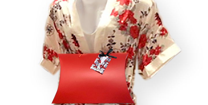 Red Floral Chemise and Robe Set