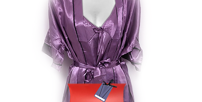 Lavender Chemise and Robe Set