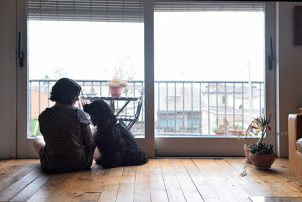 Sad woman and dog sit on the floor and stare out of the window