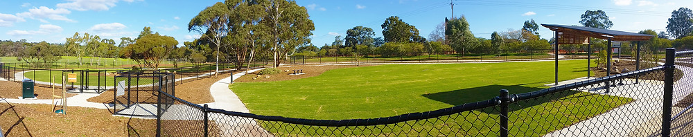 Panorama view of the Gawler Dog Park situated in Clonlea Park