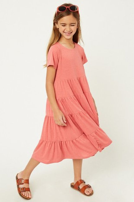 Coral Ribbed Midi Swing Dress