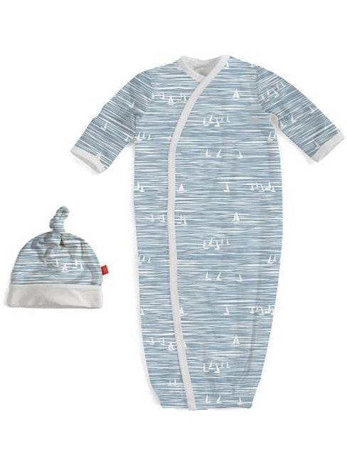 Blue Seeing Sailboats Modal Magnetic Gown & Hat Set