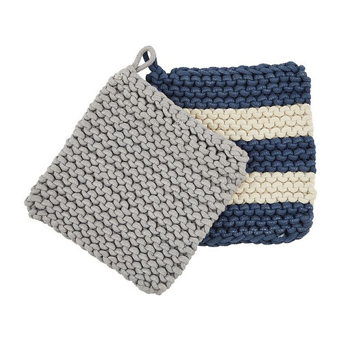 Blue Crochet Potholder Set