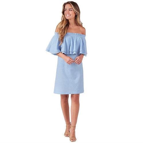 Pippa Off Shoulder Dress- Blue