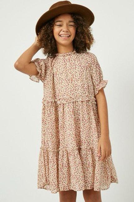 Cream Floral Ruffle Dress