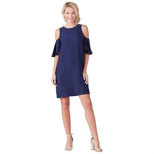 Cora Cold Shoulder Dress- Navy
