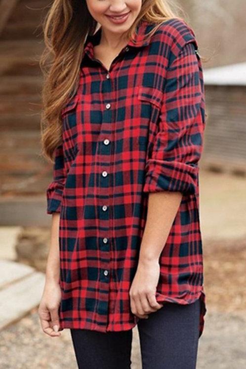Baelyn Flannel Shirt- Red