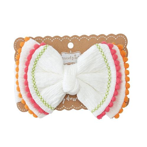 White Pom Bow Headband
