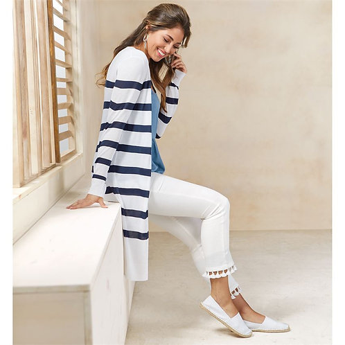 Beau Striped Duster- White
