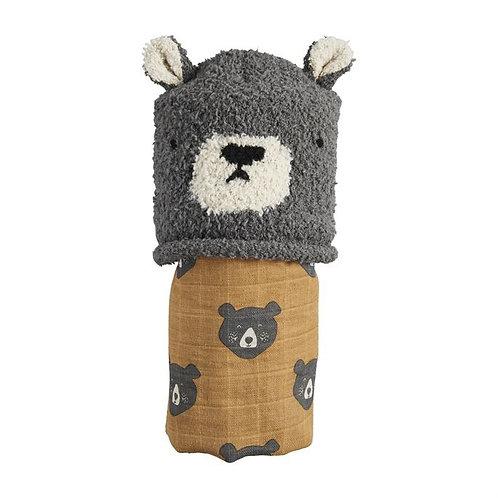 Bear Swaddle & Hat Set