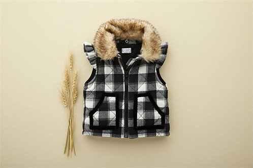 Blk Check Quilted Vest