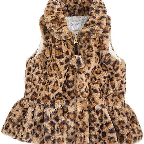 Brown Faux Leopard Vest