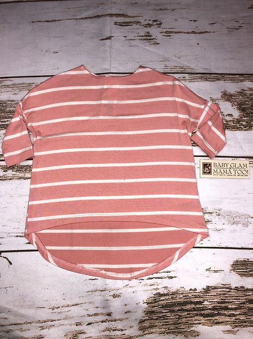 Blush Striped 3/4 Sleeve Top