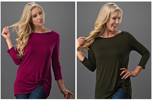 3/4 Sleeve Knot Top