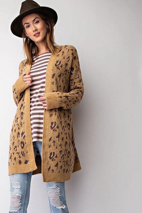 Camel Leopard Pattern Cardigan