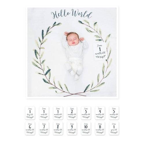 Baby's First Year Blanket- Hello World