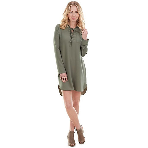 Kinsley Lace Up Dress- Green