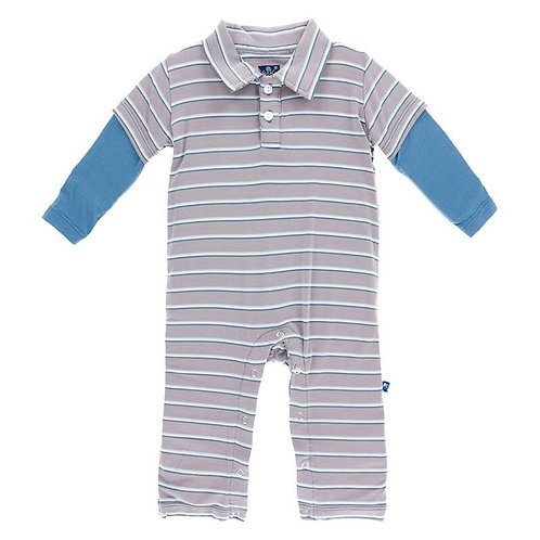 Boy Parisian Stripe Double Layer Polo Romper