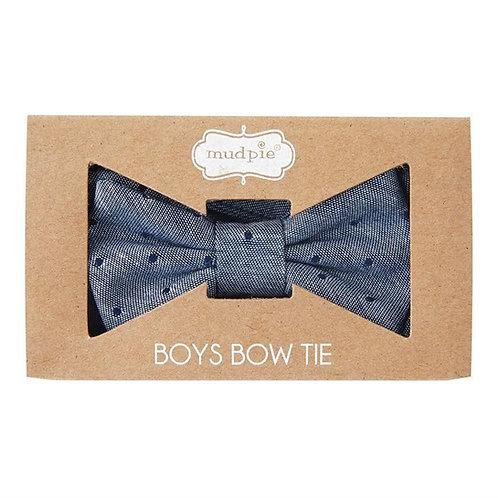 Chambray Dot Boxed Bow Tie