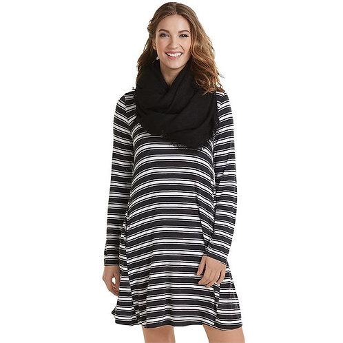 Jocelyn Jersey Dress- Black Stripe