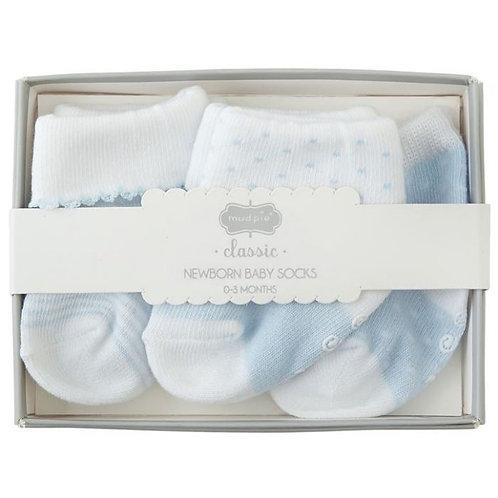 Blue Layette Sock Set 0-3m