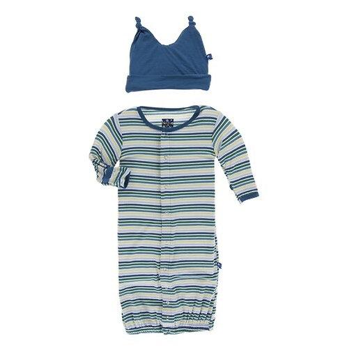 Boy Perth Stripe Gown/Double Knot Hat Set