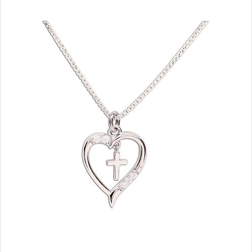 BCN-Dancing Cross Heart Necklace