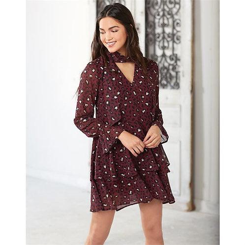 Decklan Flounce Dress- Burgundy