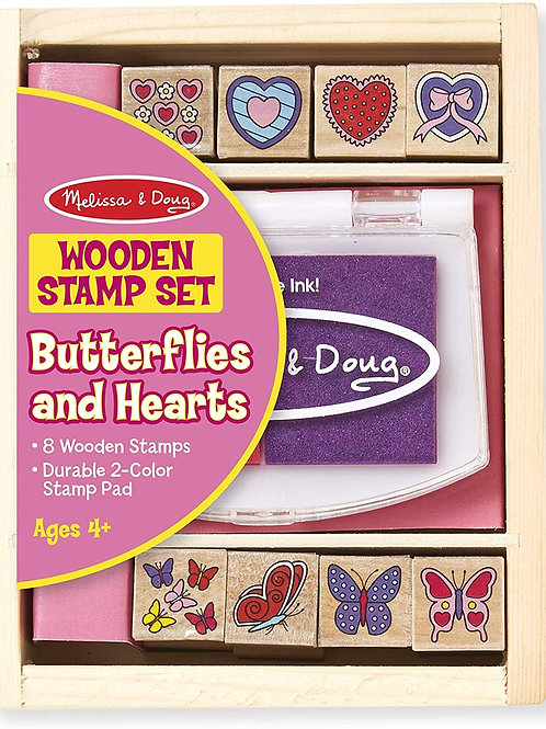 Butterflies And Hearts Wooden Stamp Set 2415