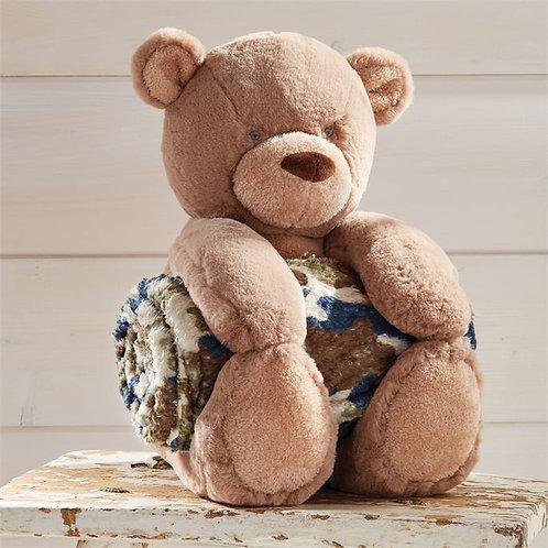 Camo Bear Plush With Blanket