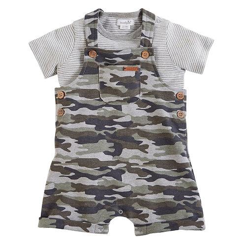 Camo Short Overalls and Shirt Set