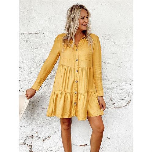 Clover Buttondown Dress Mustard