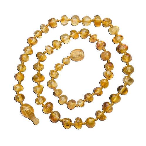 Amber Teething Necklace - Honey Polished Baroque (ATNP-BQ-Honey)