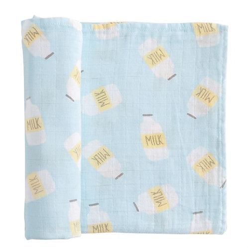 Blue Milk Muslin Swaddle Blanket