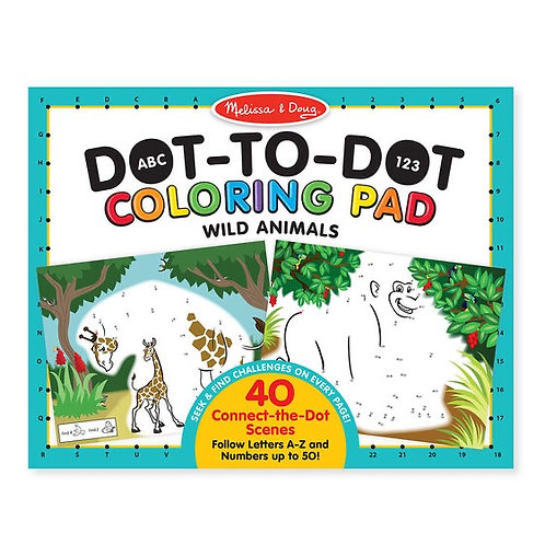 Dot-to-Dot Coloring Pad Wild Animals