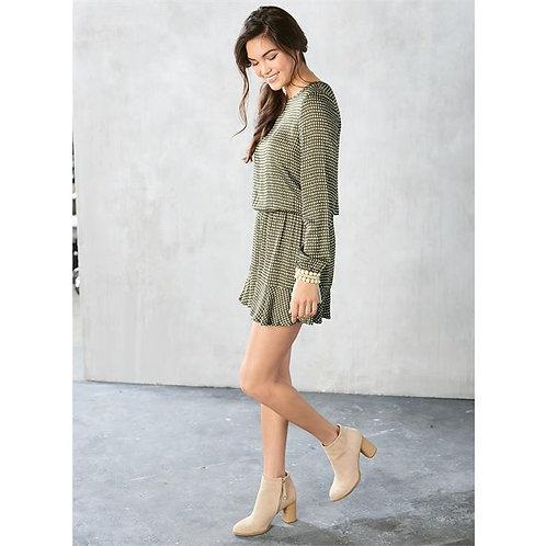 Fina Flounce Dress- Olive