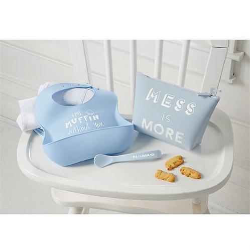 Blue Silicone Feeding Set