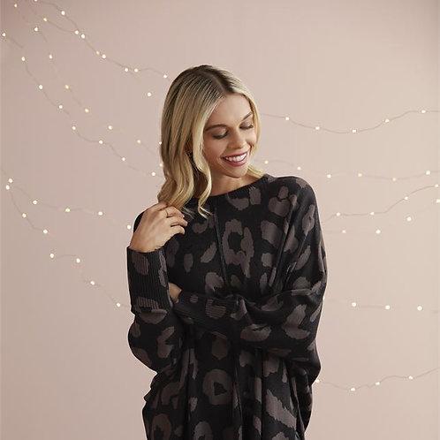 Adele Leopard Sweater Black One Size