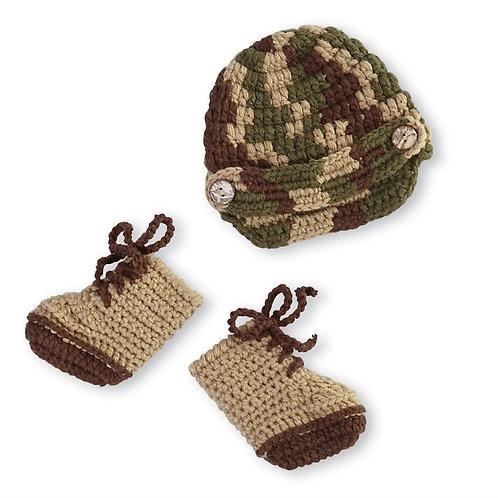 Crochet Army Hat & Boots NB