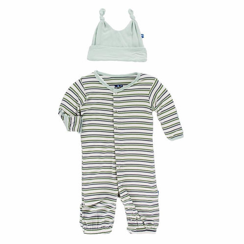 Boy Fresh Water Stripe Gown/Hat Set