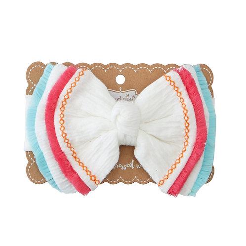 White Fringe Bow Headband