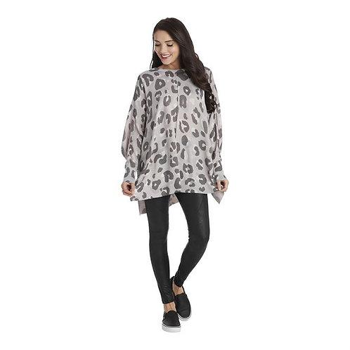 Adele Leopard Sweater Gray One Size