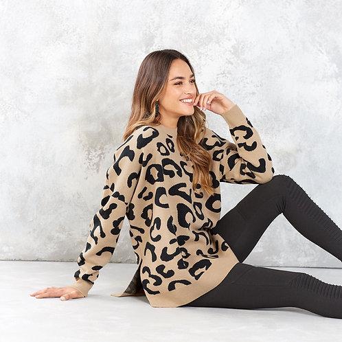 Baye Leopard Sweater Tan