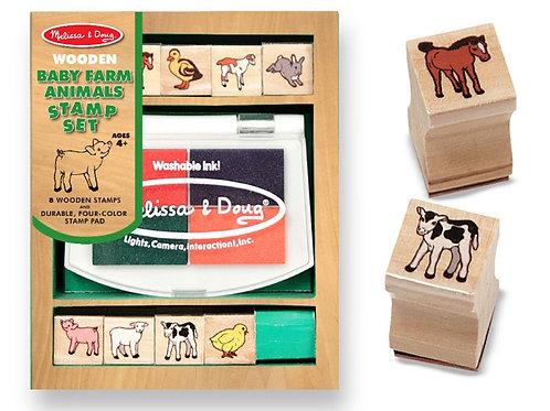 Baby Farm Animals Wooden Stamp Set 1639